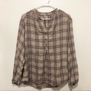Free People Check Oversized Long-Sleeve Shirt